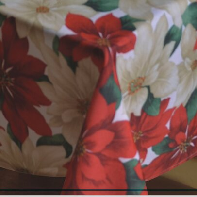 European Christmas Poinsettia Tablecloth by Violet