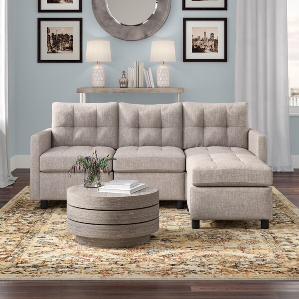 Nice And Beautiful Roxy Reversible Modular Sectional with Ottoman by Brayden Studio by Brayden Studio