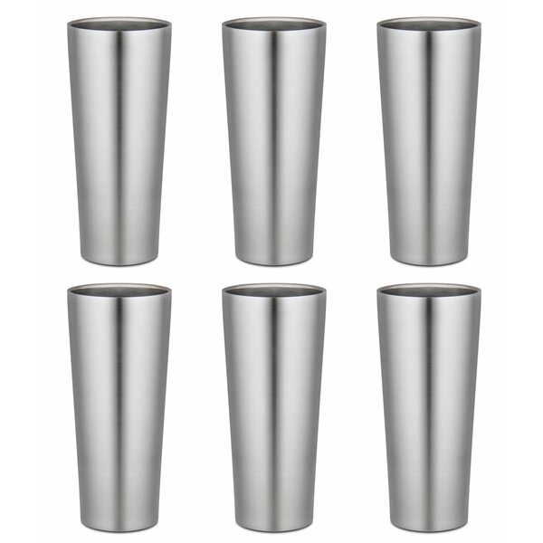 16 oz. Stainless Steel Pint Glasses (Set of 6) by Kegco