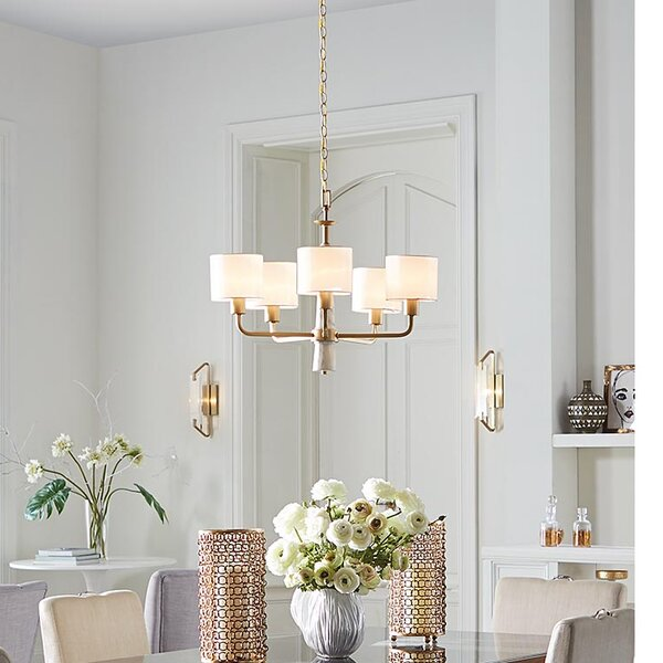 Jancis 5 - Light Shaded Traditional Chandelier by Mercer41 Mercer41