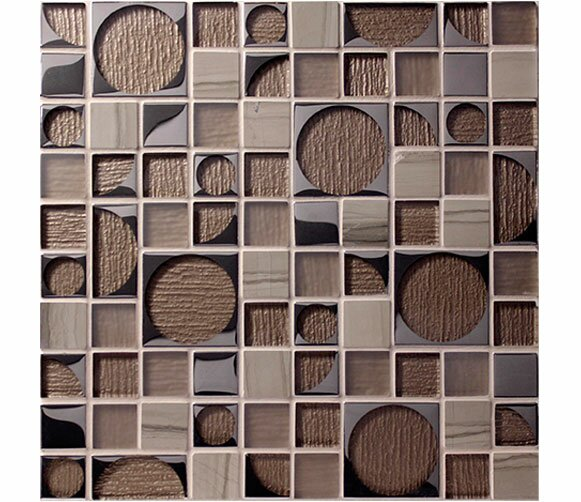 Bombshell Neutron Random Sized Glass Mosaic Tile in Brown by Tile Focus