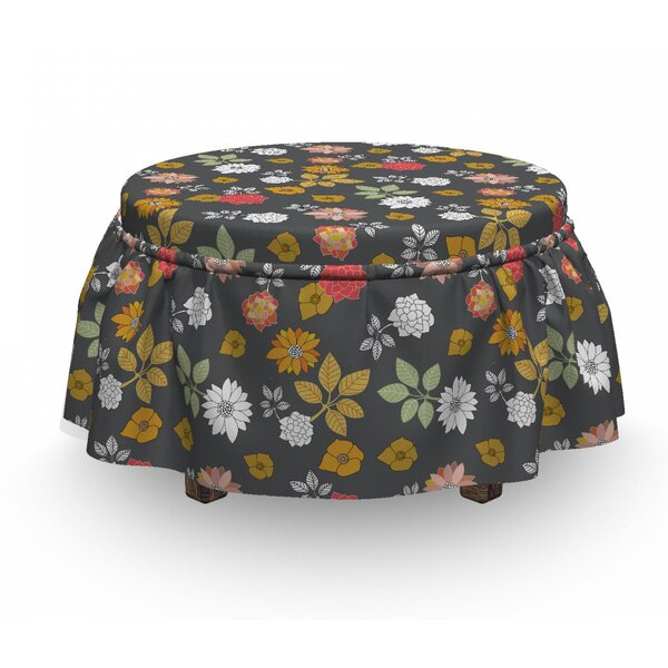 Blooming Japanese Flowers Ottoman Slipcover (Set Of 2) By East Urban Home
