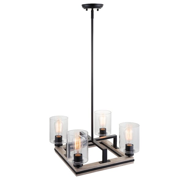 Jada 4 - Light Shaded Square / Rectangle Chandelier by Foundry Select Foundry Select