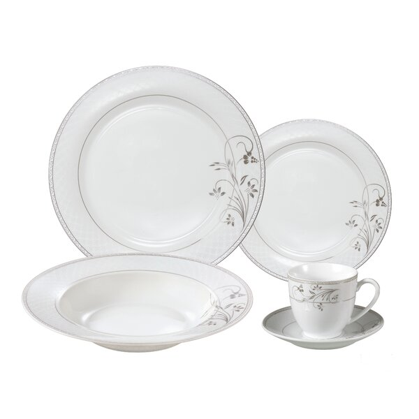 Rosalia Porcelain 24 Piece Dinnerware Set, Service for 4 by Lorren Home Trends