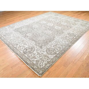 One-of-a-Kind Broadhurst Knot Oushak Cropped Thin Hand-Knotted 7'10 x 9'10 Wool Gray Area Rug by Isabelline