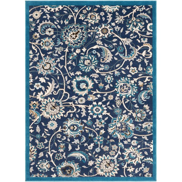 Kent Modern Floral Navy/Teal Area Rug by Charlton Home