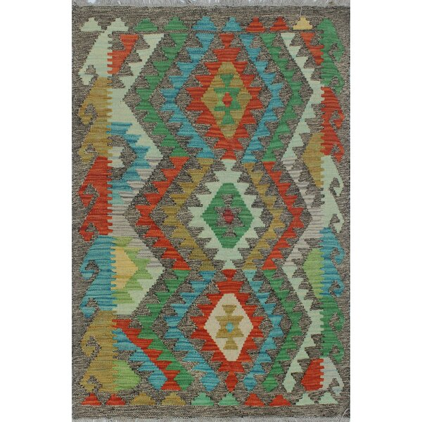 Corda Hand-Knotted Wool Blue/Green Area Rug by Bungalow Rose