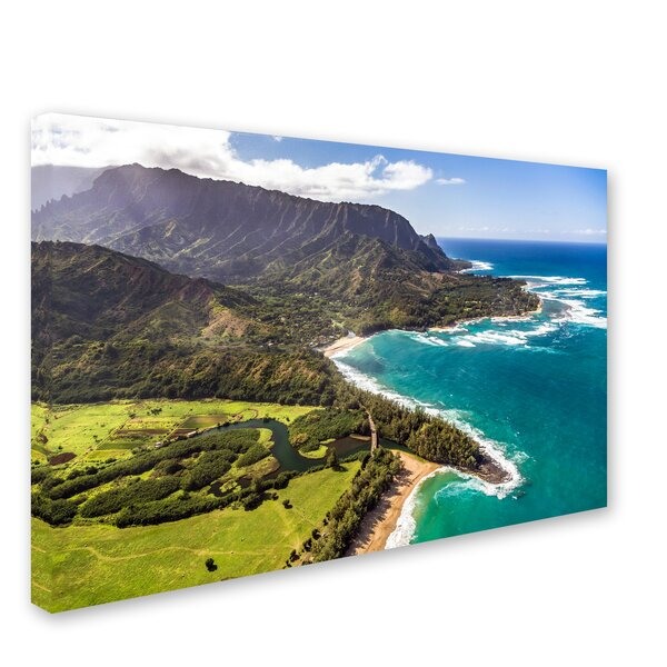 Kauai from the Air 2 by Pierre Leclerc Photographic Print on Wrapped Canvas by Trademark Fine Art