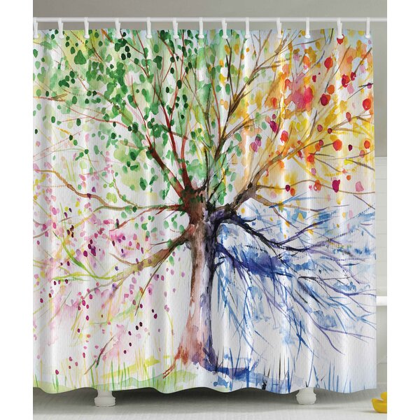 Seasons Tree Print Shower Curtain by Ambesonne