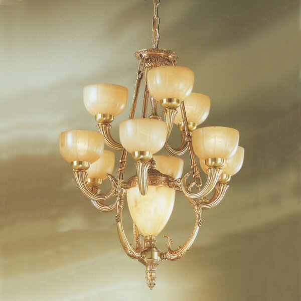 Rembrandt 11-Light Shaded Tiered Chandelier By Classic Lighting