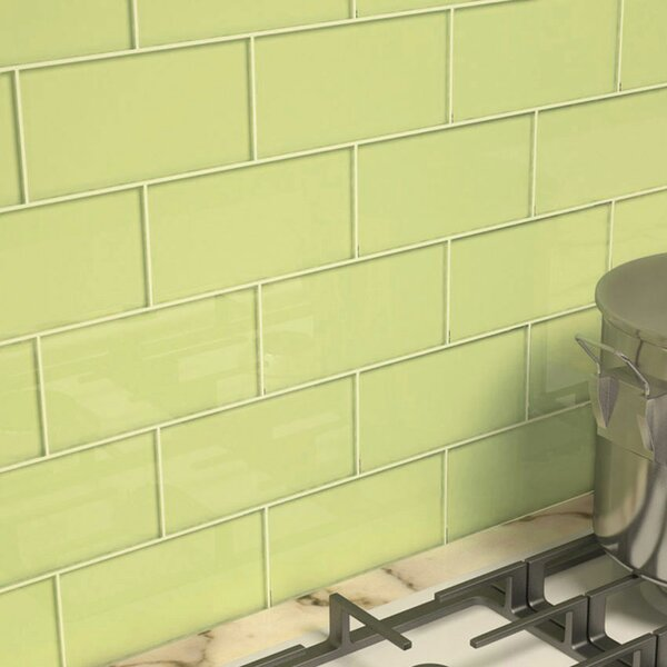 3 x 6 Glass Subway Tile in Light Olive by Giorbello