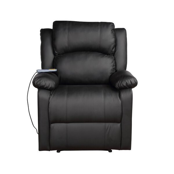 Faux Leather Manual Recliner with Massage and Heating W000290599