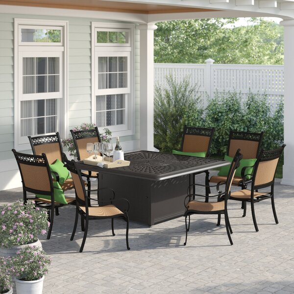 Curacao 9 Piece Metal Frame Dining Set with Firepit by Sol 72 Outdoor