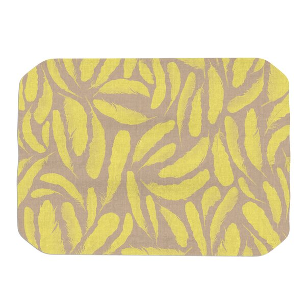 Yellow Feather Placemat by KESS InHouse