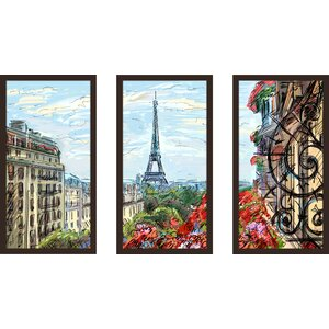 Paris by Day 3 Piece Framed Painting Print Set by Picture Perfect International