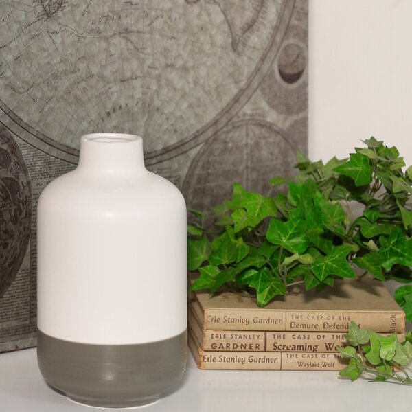 Cirillo Stoneware Round Bottle Table Vase with All Mouth by Corrigan Studio