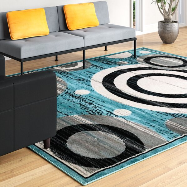 Buchenfeld Geometric Blue/Gray Area Rug by Ebern Designs