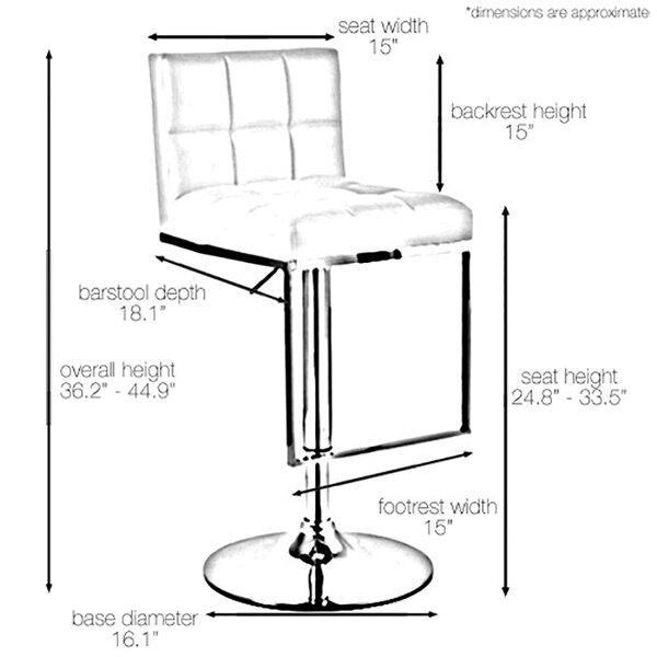 Alex Adjustable Height Swivel Bar Stool by Vandue Corporation
