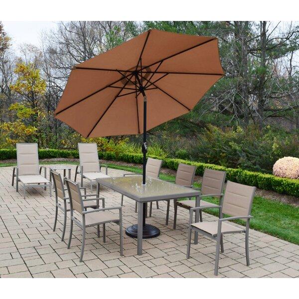 Vierzon 10 Piece Dining Set with Umbrella by Ebern Designs