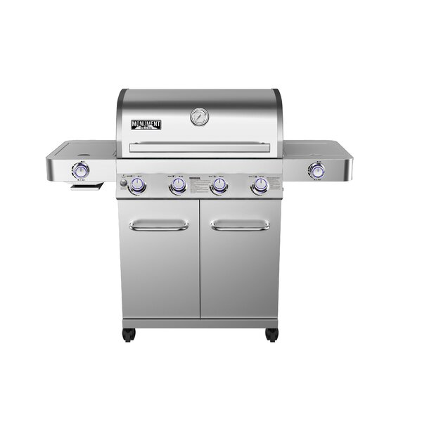 4-Burner Propane Gas Grill with Side and Side Sear Burners by Monument Grills