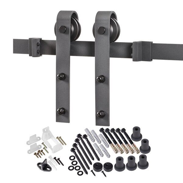 Bent Strap Flat Track Barn Door Hardware Kit by Erias Home Designs