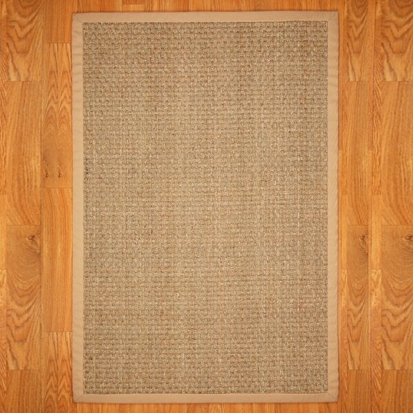 Alland Plaid Hand Woven Seagrass Khaki Indoor Area Rug By Highland Dunes.