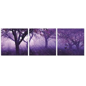 'Purple Trees' 3 Piece Photographic Print Wrapped Canvas Set by Charlton Home