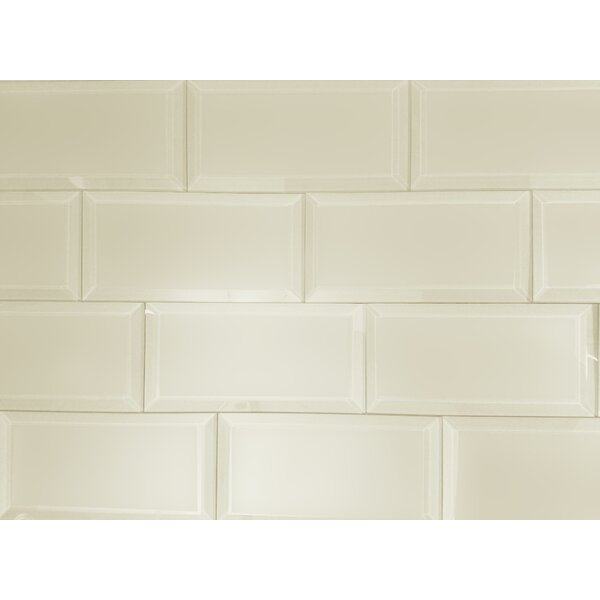 Frosted Elegance 3x 6 Glass Subway Tile in Matte Cream by Abolos