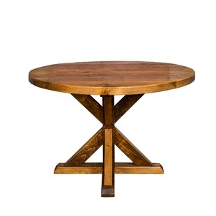 Mill and Foundry Round Trestle Farm Solid Wood Dining Table