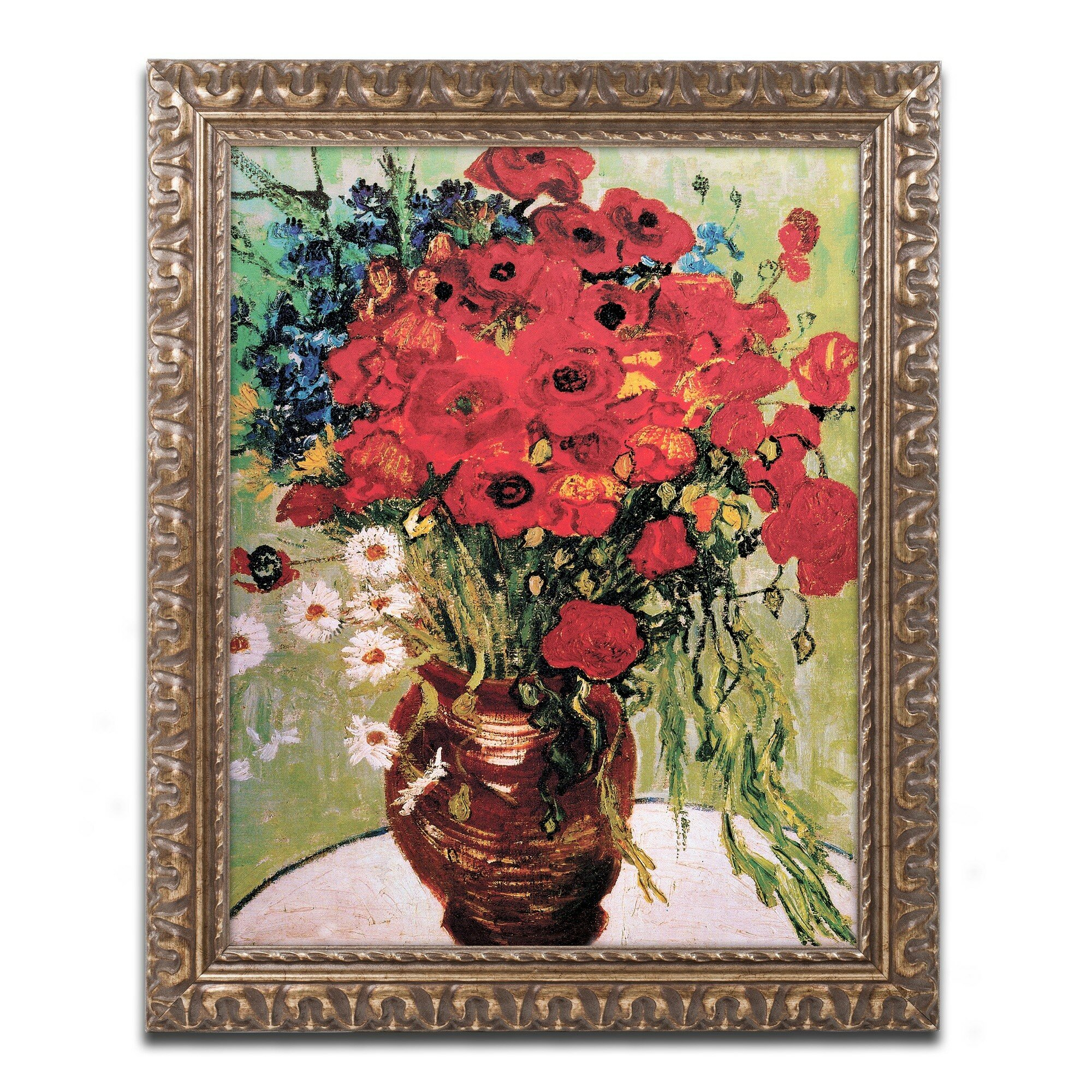 Trademark Art Daisie And Poppies By Vincent Van Gogh Framed