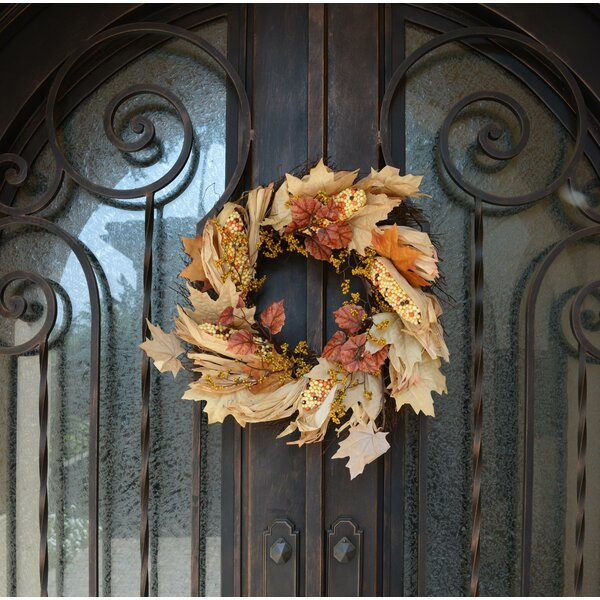 Artificial Indian Corn Husk 26 Wreath by August Grove