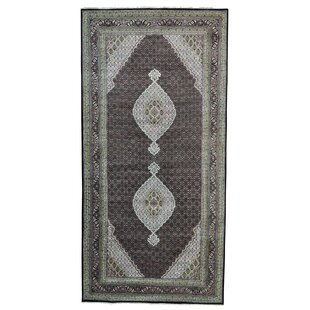 Price comparison One-of-a-Kind Samons Gallery 250 kpsi Hand-Knotted Black Area Rug ByAstoria Grand