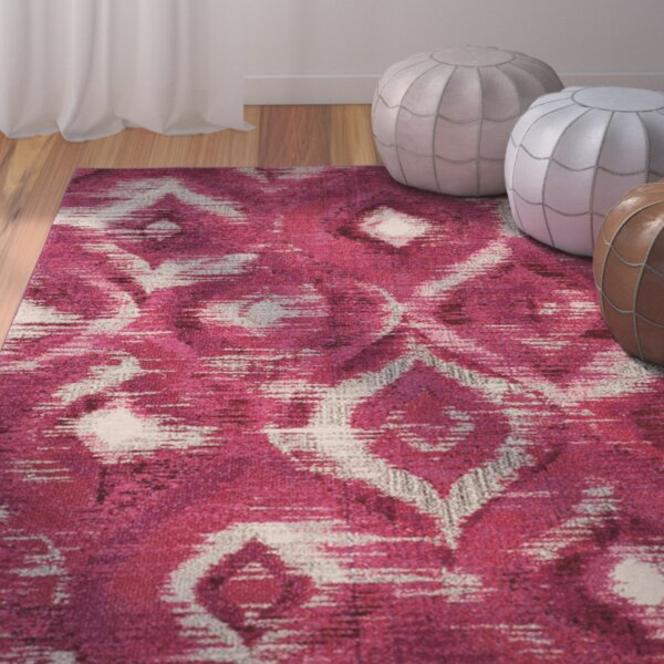 Lizotte Fuchsia / Cream Area Rug by Bungalow Rose