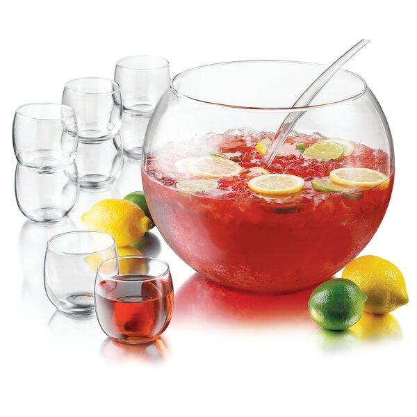 Selene 10 Piece Punch Bowl Set by Libbey