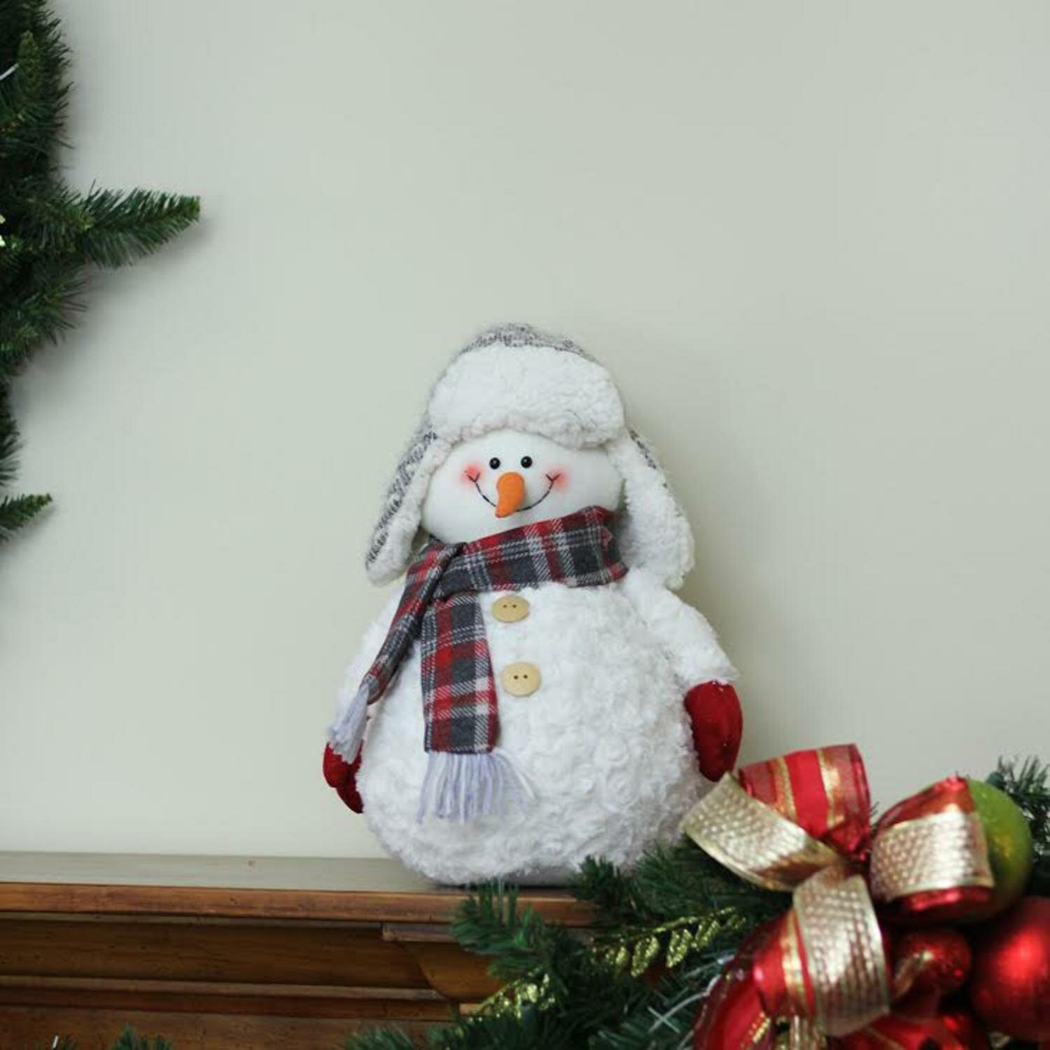 Northlight Friendly Snowman with Trapper Hat Christmas Tabletop ...