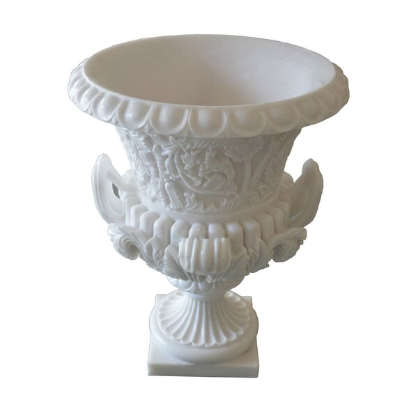 Vintage English Style Vine Engraved Makrana Marble Urn Planter by The Silver Teak
