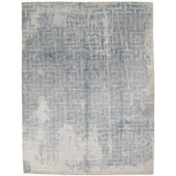Hand-Knotted Gray Area Rug by Pasargad NY