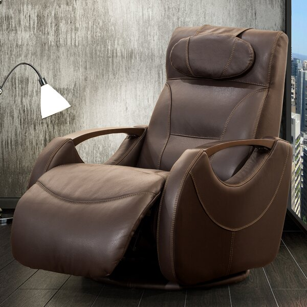 Review Naperville Leather Manual Swivel Recliner