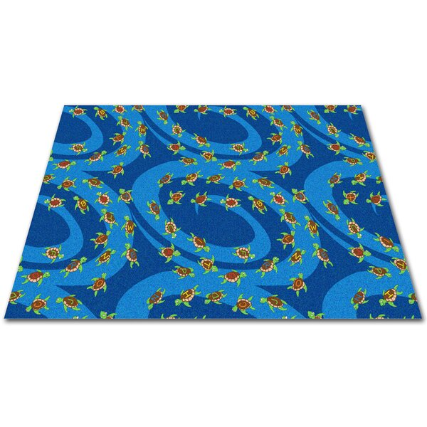 A-B-Sea Turtles Blue Area Rug by Kid Carpet