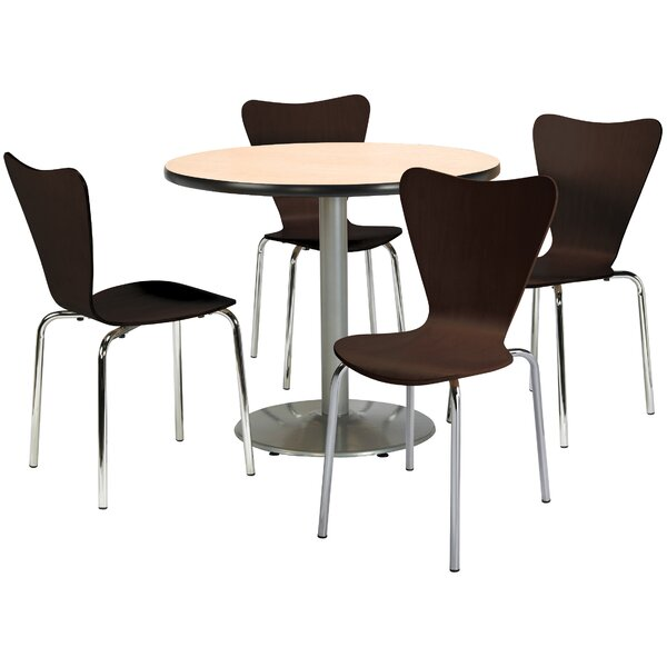 Round Cafeteria Table and Chairs Set by KFI Seating
