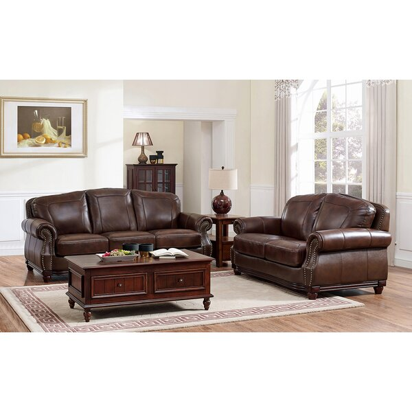 Mendenhall Leather 2 Piece Living Room Set by Three Posts