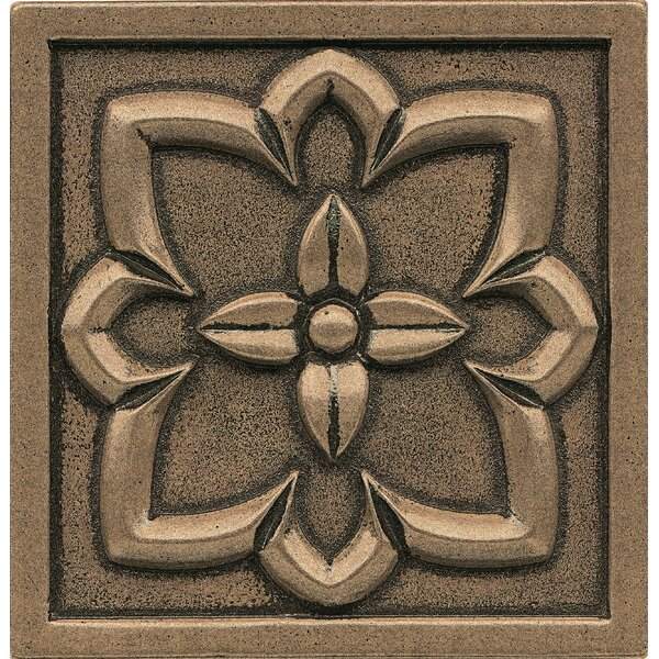Ambiance Insert 4 x 4 Metal and Resin Tile in Bronze by Bedrosians