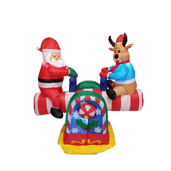 4 Foot Animated Santa Clause and Reindeer Teeter Totter Inflatable by The Holiday Aisle