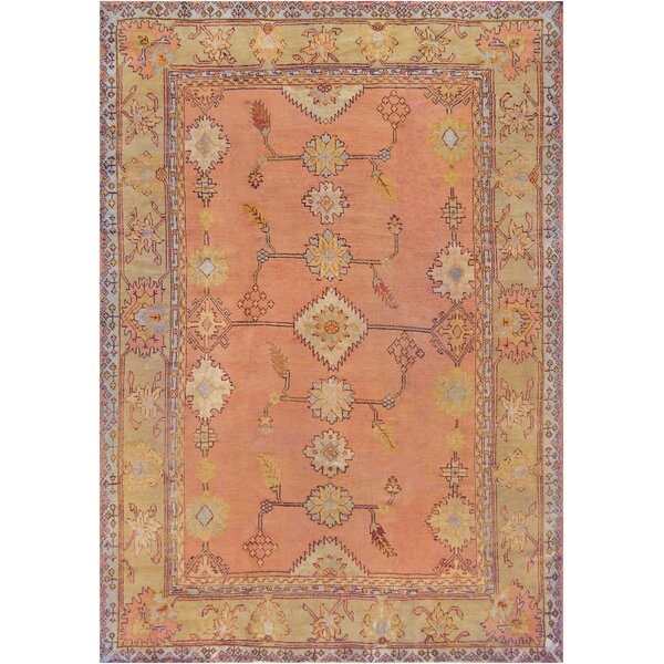 One-of-a-Kind Antique Oushak Handwoven Wool Coral/Beige Indoor Area Rug by Mansour