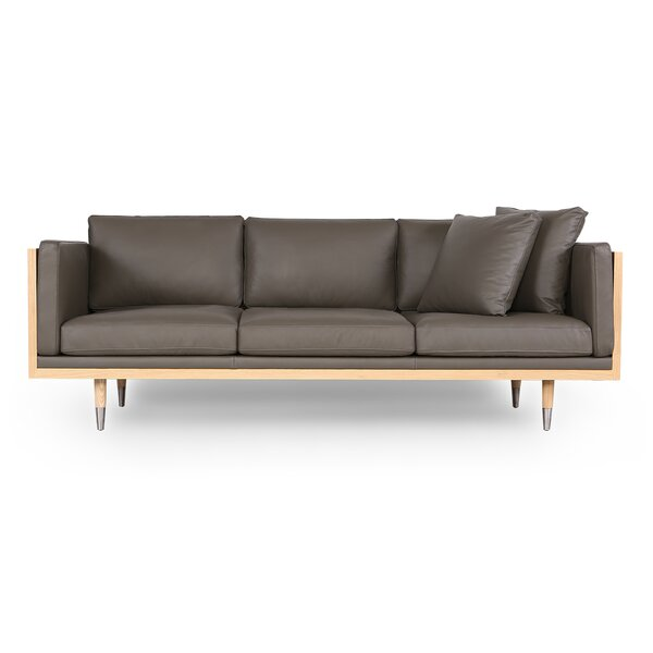 Ledger Midcentury Genuine Leather  Sofa by Modern Rustic Interiors