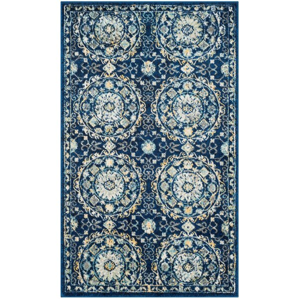 Bissen Navy/Ivory Area Rug by Bungalow Rose