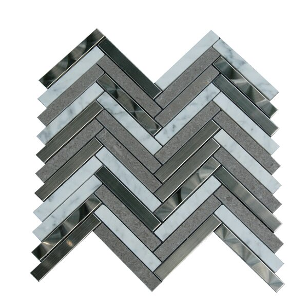 0.6 x 3 Marble Mosaic Tile in Gray/White by Luxsurface