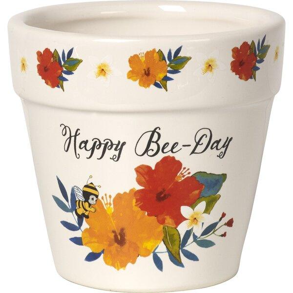 Happy Bee-Day Decorative Ceramic Flower Yard Décor Pot Garden by Precious Moments