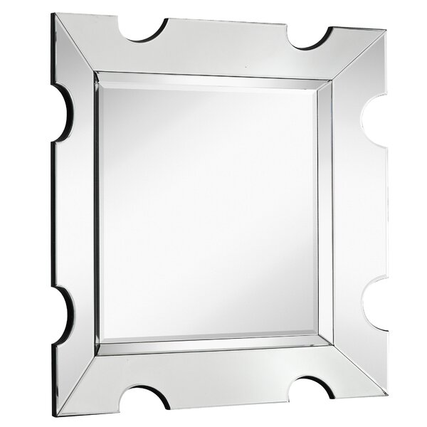 Contemporary Wood Framed Square Glass Hanging Wall Mirror by Majestic Mirror