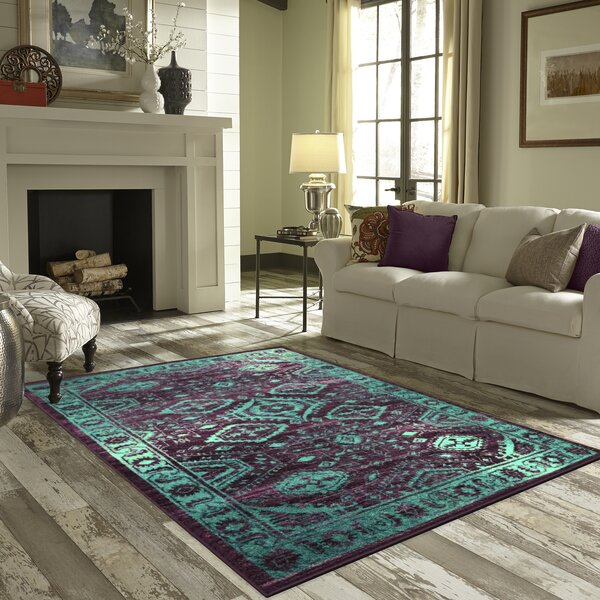 Filip Teal Area Rug by Bloomsbury Market